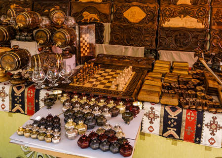 Armenian Souvenirs Wooden Chess Board Pomegranates and Wine Jars