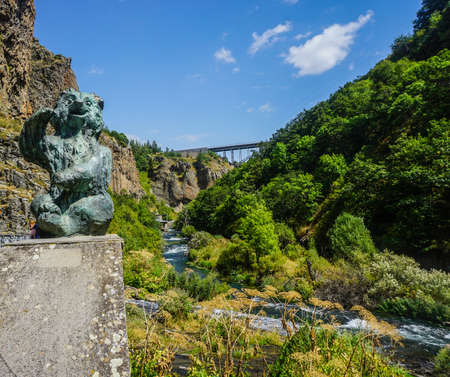 Jermuk Waterfall Sitting Stone Bear with Bridge and River View
