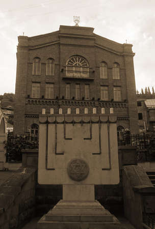 Tbilisi Old City Sinagogue Full View with Sepia Tone Effect