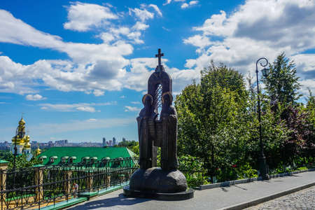 Kiev Great Lavra Saints Anthony and Theodosius Statue with Blue Sky Backgrounds 版權商用圖片