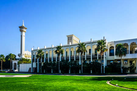 Dubai Rulers Court View at the Courtyard with Al Farooq Mosque Minaret at Background