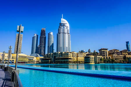 Picturesque Souk Al Bahar Side View with Highrise at Dubai Fountain