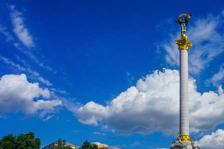 Kiev Maidan Monument at Independence Square with Picturesque Blue Sky Background