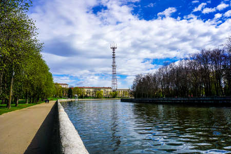 Minsk Svislach River Television Tower View with Blue Sky Background