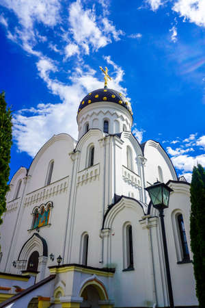 Minsk Saint Elisabeth Convent Church Side View with Picturesque Blue Sky Background