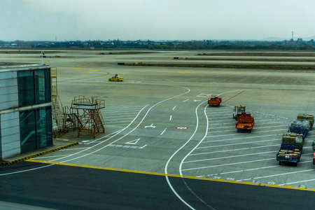 Yellow Colored Follow Me Car at Airport Airstrip Driving Left Editorial