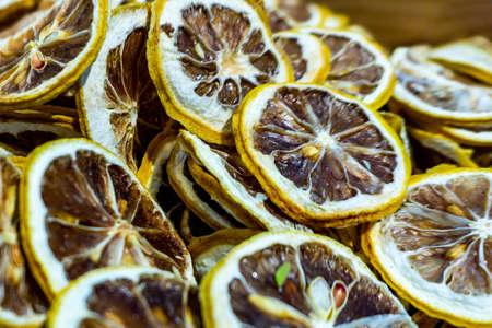 Focused Appealing Dried Sliced Lemons Heap Amount 免版税图像