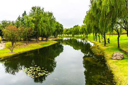 China Shanghai Botanical Garden with Green River Shore Trees and Water Lily