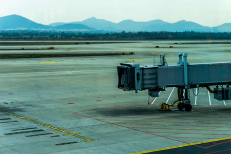 Lonely Airport Apron Drive Airbridge Without Airplane