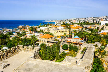 Byblos Crusaders Citadel Courtyard Ruins with Cityscape and Sea View 版權商用圖片