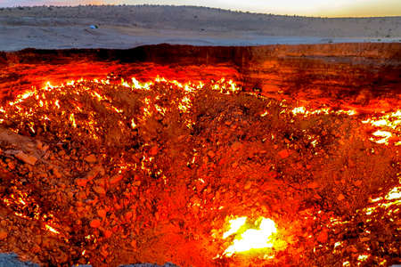 Darvaza Gas Crater Pit Breathtaking Close Up Flames View