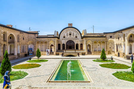 Kashan Tabatabaee Historical House Courtyard Frontal View Point with Fountain Pond