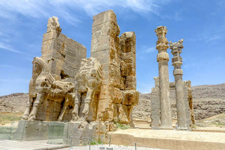 Persepolis Historical Site Apadana Gate of All Nations with Pillars and Two Lamassu Ruins