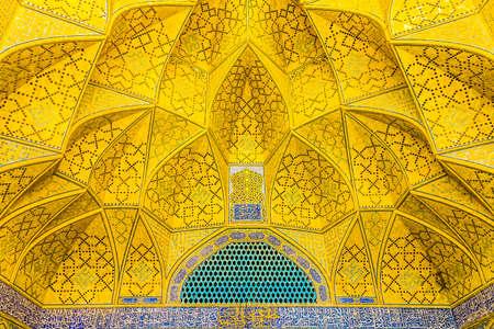 Isfahan Masjed-e Jameh Mosque Yellow Tiles Ornament Muqarna Ahoopay Honeycomb Stalactite Vaulting Editorial