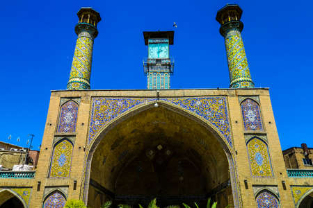 Tehran Grand Bazaar Shah Mosque Gate with Two Minarets and Ornament Tiles Stock fotó