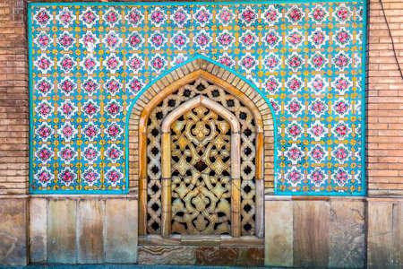 Tehran Golestan Palace Talar-e Almas Diamond Hall Persian Blue Tiles with Marble Ornament Carving Window Redakční