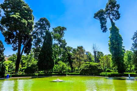 Tehran Golestan Palace Garden Pond with Fountain Daylight Redakční