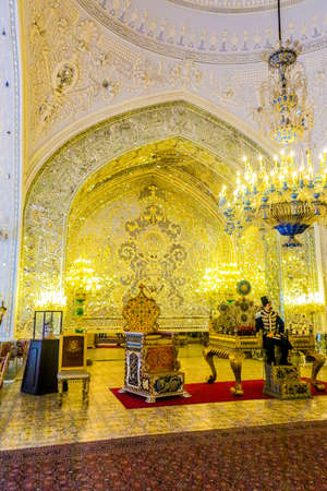 Tehran Golestan Palace Talar-e Brelian Brilliant Hall with Mirrors and Chandeliers