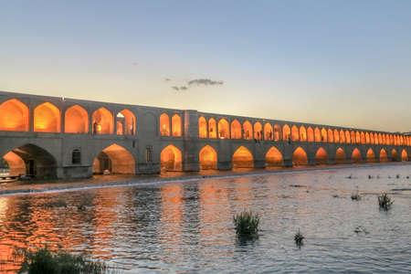 Isfahan Allahverdi Khan Si-o-Seh Pol 33 Arches Bridge During Sunset