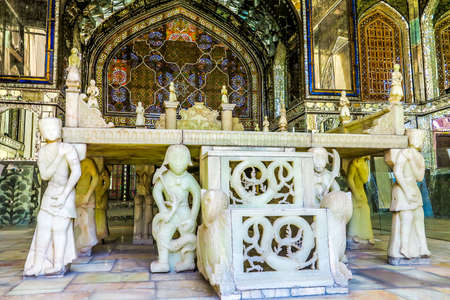 Tehran Golestan Palace Takht-e Marmar Marble Throne with Carved Human and Dragon Sculptures