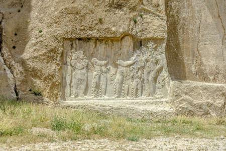 Persepolis Naqsh-e Rustam Investiture Narseh Rock Carving Relief Banco de Imagens