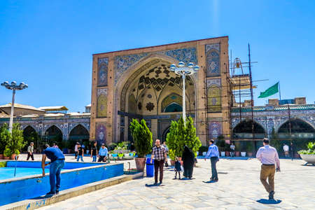 Tehran Grand Bazaar Shah Mosque Madrasa Portal Gate with People