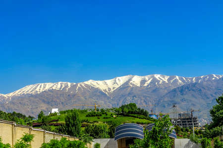 Tehran Ab-o Atash Park with View of Snow Capped Mount Tochal Alborz