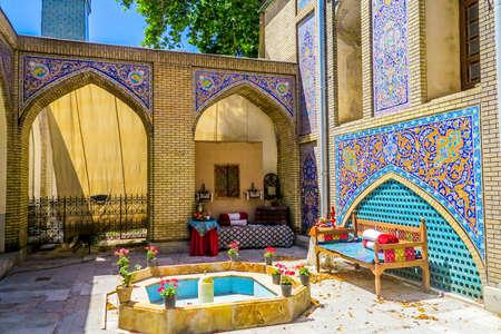 Tehran Golestan Palace Emarat e Badgir Building of Windcatchers Courtyard with Empty Fountain Redakční