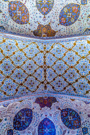 Isfahan Ali Qapu Royal Palace Blue Colored Ornament Ceiling