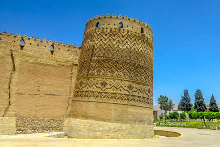Shiraz Karim Khan Arg Castle Exterior Leaning Watch Tower Walls View Point