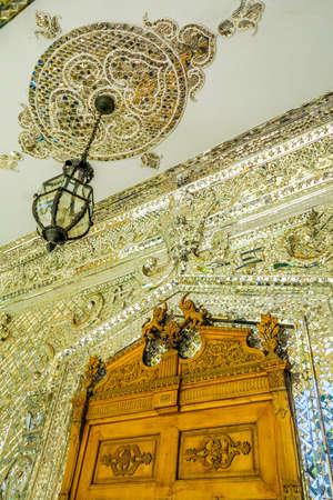 Tehran Golestan Palace Talar-e Brelian Brilliant Hall with Mirrors Ceiling and Chandeliers Redakční
