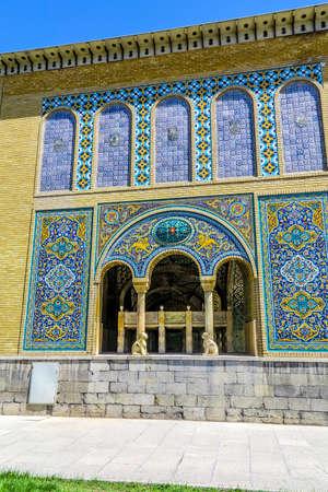 Tehran Golestan Palace Khalvat-e Karim Khani Nook Outdoor View Point with Persian Tiles Ornaments