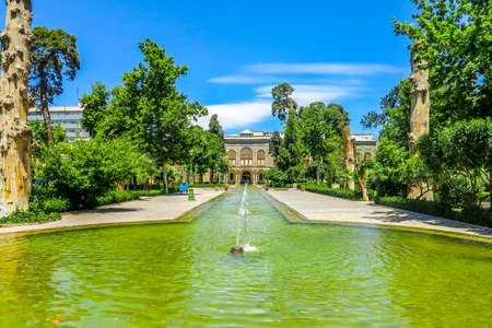 Tehran Golestan Palace Talar-e Salam Reception Hall Frontal View Point with Garden Pond and Fountain