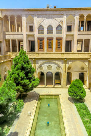 Kashan Boroujerd Historical House Courtyard Facade Back View with Fountain Pond