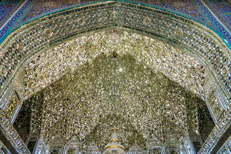 Qom Fatima Masumeh Shrine with Mirror Muqarna Ahoopay Honeycomb Stalactite Vaulting
