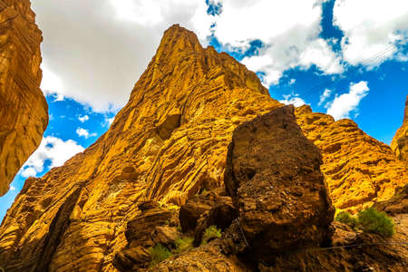 Tianshan Mysterious Grand Canyon Landscape Breathtaking Picturesque View Point Stock Photo