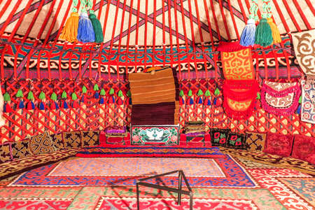 Cholpon Ata Rukh Ordo Cultural Center Traditional Kyrgyz Yurt Interior with Felt Carpet Ornament