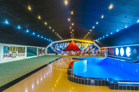 Cholpon Ata Rukh Ordo Cultural Center Interior Swimming Pool Hall and Paintings Stok Fotoğraf - 117057506