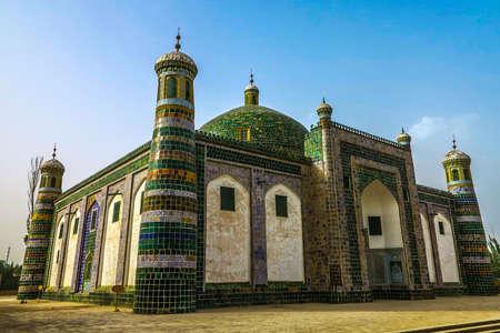 Punto di vista laterale dell'ornamento delle mattonelle verdi del mausoleo di Kashgar Afaq Khoja