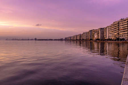 Thessaloniki Waterfront Promenade Coastal Path Seaside at Wintertime with Sunset Stock fotó