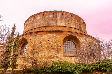 Thessaloniki Arch of Galerius and Rotunda with Minaret Cloudy Sky Background at Wintertime Stock Photo