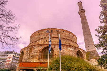 Thessaloniki Arch of Galerius and Rotunda with Minaret Cloudy Sky Background at Wintertime 写真素材