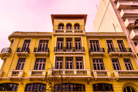 Thessaloniki Yellow Colored Corner Street Building Low Angle View Stock fotó