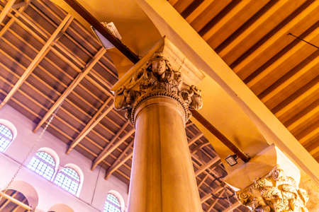 Thessaloniki Hagios Demetrios Cathedral Low Angle Column with Horned Sheep Stone Carving Relief Capitals