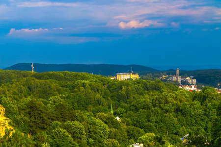Lviv Cityscape Panoramic Viewpoint with Old City View Forest and Hill Stok Fotoğraf