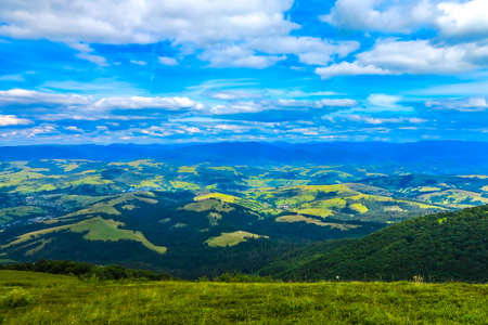 Pylypets Ski Resort Panoramic View of the Valley and Ukrainian Carpathian Mountains in Summertime