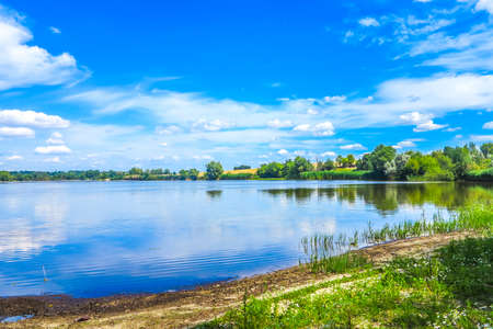 Zhashkiv City Cherkasy Oblast Lake View with Blue Sky White Clouds Background 스톡 콘�츠