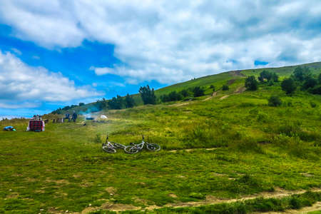 Pylypets Ski Resort View Bicycles and Relaxing People on the Ukrainian Carpathian Mountains in Summertime