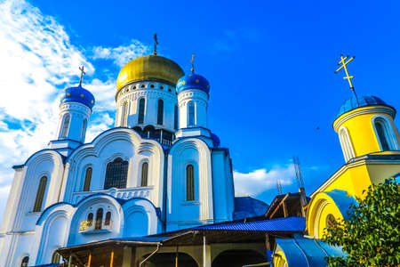 Mukachevo Christ the Saviour Cathedral Frontal Low Angle View with Chapel at Background 版權商用圖片