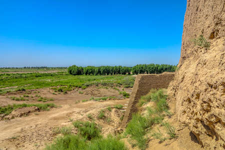 Karakalpakstan Kyzyl Kala Fortress Ruins Landscape Breathtaking Picturesque Viewpoint Stok Fotoğraf